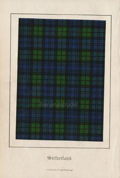 Antique Tartan Print of Clan Sutherland. 1860 Scottish Highlands Design