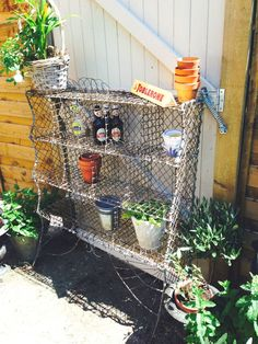 Possible shoe storage? Old Vintage Metal Wire Rack Shelves Garden Architectural antique French Style