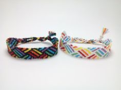 Rainbow weave string friendship bracelet striped by Liv4Friendship