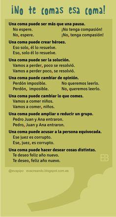 """Recursos didácticos para imprimir, ver, leer: """"¡No te comas esa coma!"""" (Infografía de evacreando.blogspot.com.es)"""