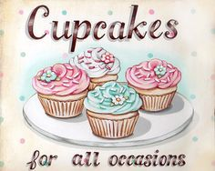 Image of Cupcakes for all occasions matted ready to frame print