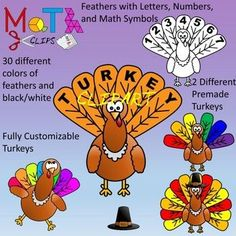 There's a lot of turkey clipart, but this set is created for those who want to create mathematical content for students that has a turkey, Thanksgiving or fall theme. Turkey feathers come in over 30 different colors great for counting and pattern recognition.