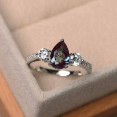 Lab alexandrite ring wedding ringpear cut ring color change