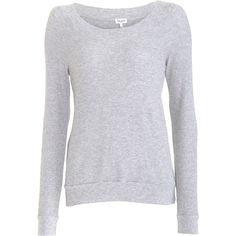 Splendid Thermal Sweatshirt - Heather Grey size Extra Small ($29) ❤ liked on Polyvore featuring tops, hoodies, sweatshirts, sweaters, shirts, blusas, long sleeves, t-shirts, clothing & accessories and women
