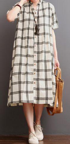 Nude plaid cotton maxi dress sundresses plus size summer dresses