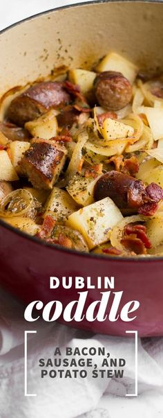 This slow-cooked Dublin Coddle recipe with bacon, sausage, and potatoes would be perfect for St. Paddy's Day!
