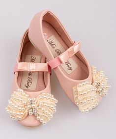 Love this Mia Belle Baby Pink Pearl Stripe Bow Ballet Flat by Mia Belle Baby on #zulily! #zulilyfinds