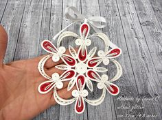 White and Red Christmas Quilled Snowflake Christmas Snowflake