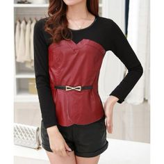 Fashionable Scoop Neck Flocking Long Sleeve Lace T-Shirt For WomenT-Shirts   RoseGal.com