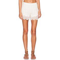 Band of Gypsies Lace Short Shorts (69 AUD) ❤ liked on Polyvore featuring shorts, micro shorts, elastic waistband shorts, scalloped edge shorts, hot short shorts e scallop hem shorts