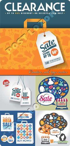 Creative sale tags vector set