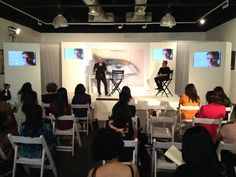 A Complete White set for MAC Trends Summer and Spring 2013. Mickey Contractor and Sonic Sarwate explaining the trends to the journalists and fashion stylists.