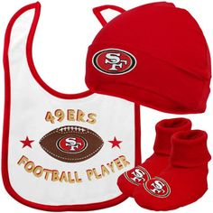 Girls Infant San Francisco 49ers Bibs & Burp Cloth 3-Piece Set