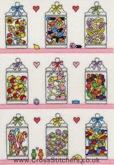 Sweetie Jars Cross Stitch Kit by Bothy Threads