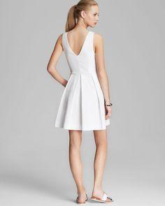 "NWT JOIE ""BESSINA"" Porcelain White V neck Fit & Flare Pique Dress Sz L  #Joie #FitFlare"