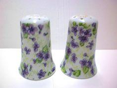 Violets China Salt & Pepper Shakers, Lefton China Chintz $12