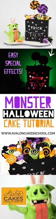 Monster Halloween Cake Tutorial! Gear up for Halloween with this super fun and EASY special effects Trick-or-Treat Bag and Monster Cake! Click through to learn more.