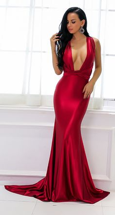76170260e3e0 Beautiful Red Silk Prom Dresses - Gorgeous Sparkly Satin Graduation  Homecoming Deep V Neck Plunge Backless