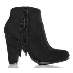 Botki - Czarne Zamszowe Zgrabne z Frędzlami - www.BUU.pl #buupl #style #fashion #black #shoes #autumn