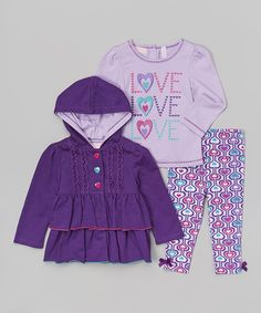Love this Purple Ruffle Swing Coat Set - Infant, Toddler & Girls on #zulily! #zulilyfinds