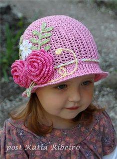 Chapéu de Menina em crochê com Gráfico e Passo a Passo - Katia Ribeiro Moda e Decoração Handmade
