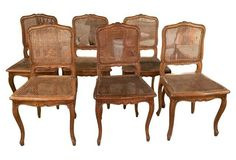 French-Style Caned Dining Chairs, S/6  1125.
