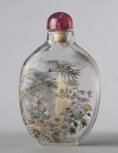 Snuff Bottle and Stopper Chrysanthemum, Bamboo, and Plum Blossom Artist/maker unknown, Chinese Qing Dynasty (1644-1911) 1767-1860