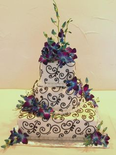 beautiful cake with blue orchids!