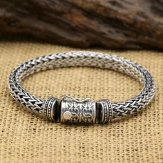 8 Mm Men's Sterling Silver Braided Bracelet