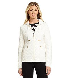 Preston and York Chevron Quilted Hooded Jacket #Dillards