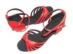 Pobofashion Kinder Tanzschuhe mit fünf Riemen rosa/rot/apricotfarben für lateinamerikanische Tänze - http://on-line-kaufen.de/pobfashion/pobofashion-kinder-tanzschuhe-mit-fuenf-riemen