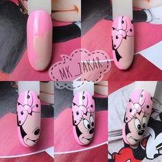 Minnie Mouse Nails, Mickey Mouse Nails, Popular Nail Designs, Cute Nail Art Designs, Trendy Nails, Cute Nails, Sculpted Gel Nails, Best Acrylic Nails, Rainbow Nails