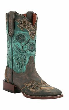 Dan Post® Ladies Sanded Copper w/ Turquoise Blue Bird Top Square Toe Western Boots | Cavender's Boot City