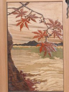 Japanese Maple Cabinet Carved Marquetry Panel | Paula Garbarino