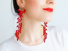 EARRINGS // Galeo // Handmade Lace Earrings - Red Scarlet - Bronze Brass - Dangling Dangle Leaf Leaves Venise Lace on Etsy, $26.61