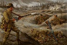 Art second world war 2 trenches soldiers light machine gun Browning Automatic Rifle Home Decoration Canvas Poster Military Art, Military History, World War One, First World, Ww1 Art, Military Drawings, Military Pictures, Korean War, Usmc