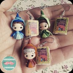 Sleeping Beauty earrings/ Handmade in polymer clay