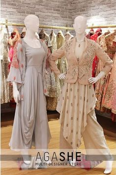 Draped dresses with embroidered jackets Drape Gowns, Draped Dress, Indian Designer Outfits, Designer Dresses, Indian Dresses, Indian Outfits, Stylish Dresses, Fashion Dresses, Heavy Dresses