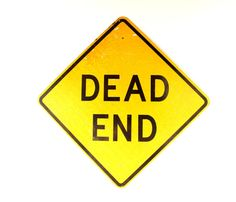Vintage Metal Dead End Sign in Yellow and Black 24 by ThirdShift