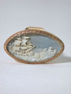 Exquisite Georgian Carved Ivory Seascape Ring - Not even CLOSE to my style, but an AMAZING amount of talent and patience went into the making of this ring.