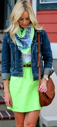 Green skirt + white Oxford + patterned scarf + denim jacket