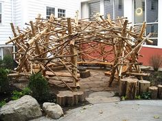 For a school whose mascot is the beaver, a beaver lodge, by artist Mark Ragonese as the focal point of an 'inspiration garden'  designed by Julie Moir Messervy.