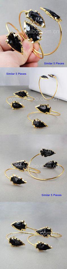Obsidian 110803: Wholesale 5Pcs Arrowhead Black Obsidian Adjustable Bangle Gold Plated Hot Bg0527 BUY IT NOW ONLY: $37.5
