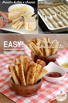 So asy to make these Crunchy Homemade Breadsticks - Aperitivo fácil de fazer… Drink Bar, Food And Drink, Kids Party Finger Foods, Comida Picnic, Appetizers For Kids, Party Appetizers, Snack Recipes, Cooking Recipes, Good Food