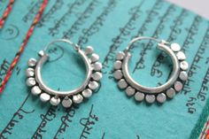 Indian Rajasthan DOTS shape Antique silver hoop by handmadebyinali, $25.00