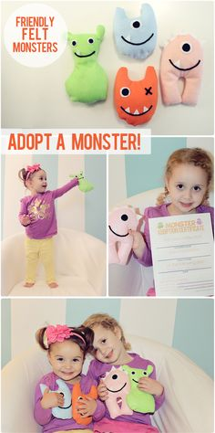 My Little Felt Monsters. cute and easy monster shapes plus monster adoption certificates :)