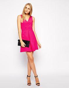 Image 4 ofAryn K Double V Neck Pleated Dress