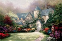 "Thomas Kinkade painted ""Beyond Autumn Gate"" in 1993, after being inspired on a trip to England with his wife, Nanette. This award-winning painting is a collector favorite, and is the second painting in Thom's famous ""Autumn Gate Collection"". 6/25/15"