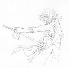 アートワーク原画「名無し線画」 #stranja Reference Manga, Drawing Reference Poses, Drawing Poses, Sword Drawing, Manga Drawing, Life Drawing, Samurai Poses, Sword Of The Stranger, Sword Poses