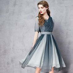 PLT Gradient Colored Chiffon Cocktail Dress